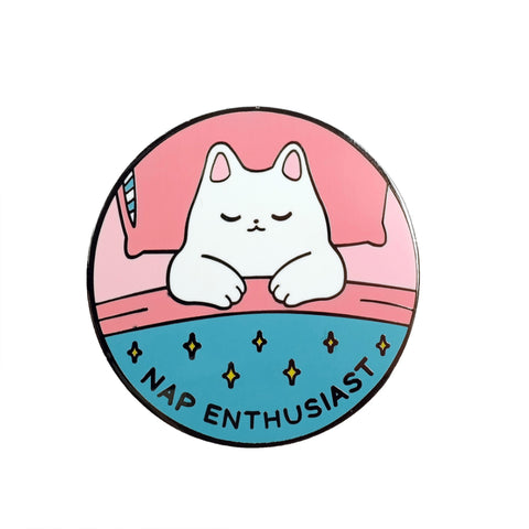 Sparkle Collective Nap Enthusiast Enamel Pin Badge - cute sleeping white cat