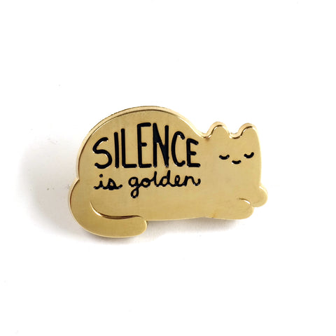 Sparkle Collective Silence Is Golden Enamel Pin - sleeping gold cat