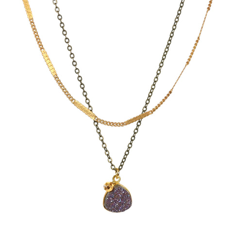 Stardust Double-Strand Druzy Necklace in Purple
