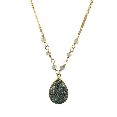 Stardust Droplet Druzy Necklace in Green