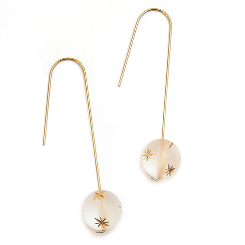 Dotpop Starry Sky frosted white moon and gold star pattern bead drop earrings on gold hook