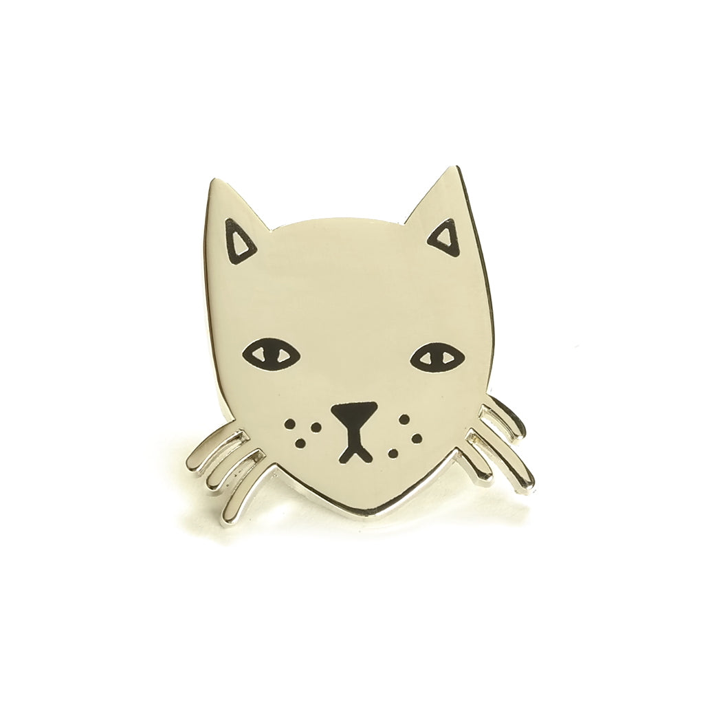 tiny stay home club cat face enamel metal pin