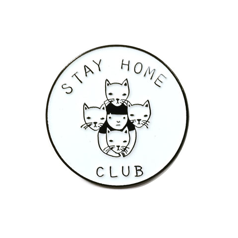 stay home club logo black and white enamel pin