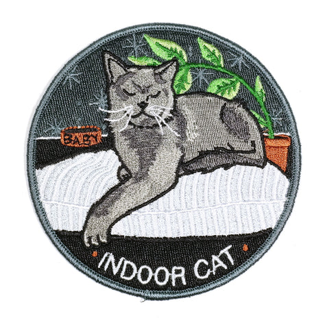 indoor cat circle embroidered patch by stay home club