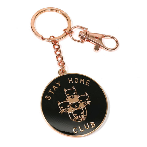 stay home club rose gold and black logo key ring