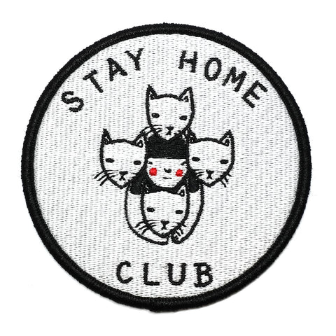 Stay Home Club Cat Logo Embroidered Iron On Patch