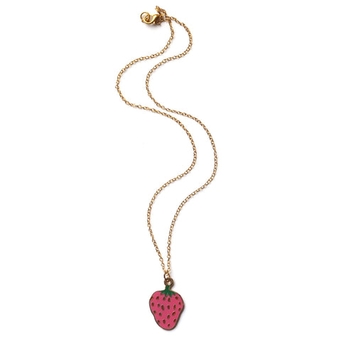 Strawberry Enamel Necklace