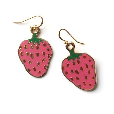 Strawberry Enamel Earrings