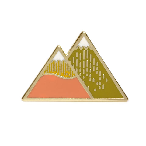 summer mountain two peaks enamel pin by hug a porcupine