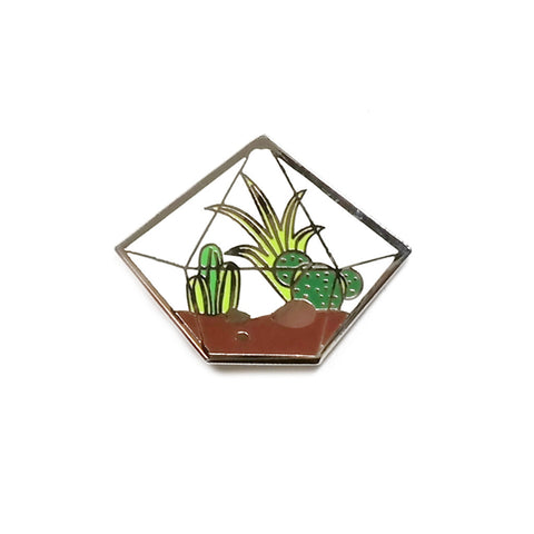 Glass Terrarium style enamel pin with cactus by Finest Imaginary