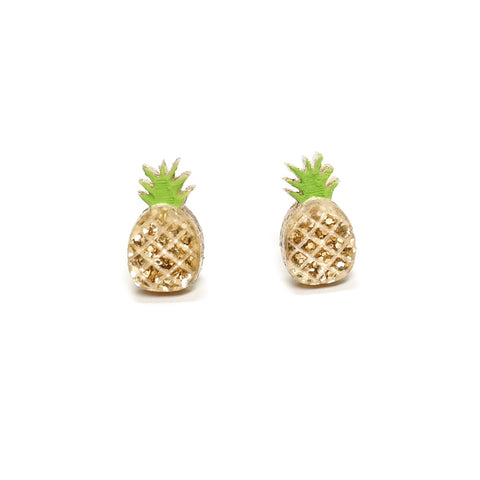 tiny gold glitter pineapple acrylic earrings finest imaginary