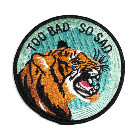 Too Bad So Sad Crying Tiger Iron On Embroidered Patch