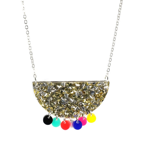 Tribal Brights Necklace in Gold Glitter