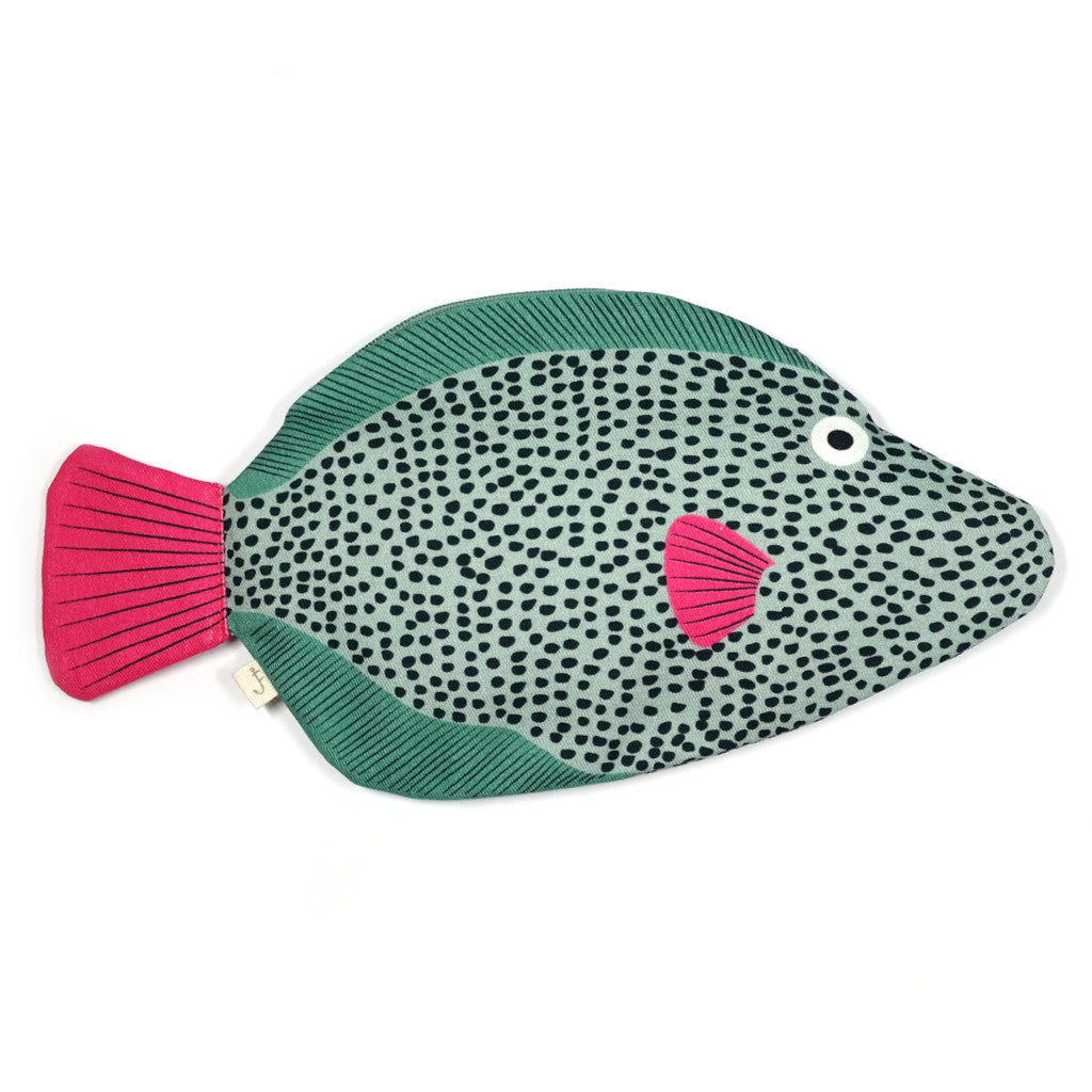 green and pink cotton triggerfish pouch by don fisher