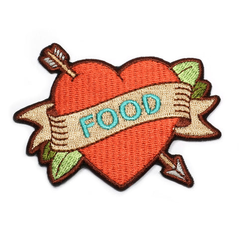 iron on tattoo style true love food embroidered patch