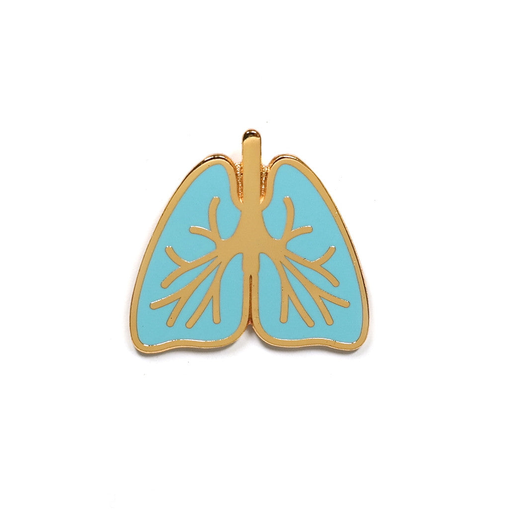 turquoise enamel lungs enamel pin metal badge by rock cakes