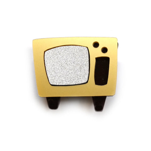 TV retro style Television brooch in gold and silver acrylic by I Am Acrylic