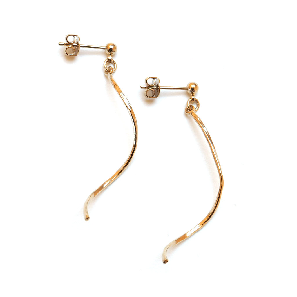 gold plated twist earrings main view