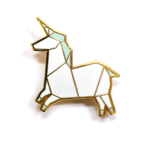 white unicorn origami inspired enamel pin by hug a porcupine