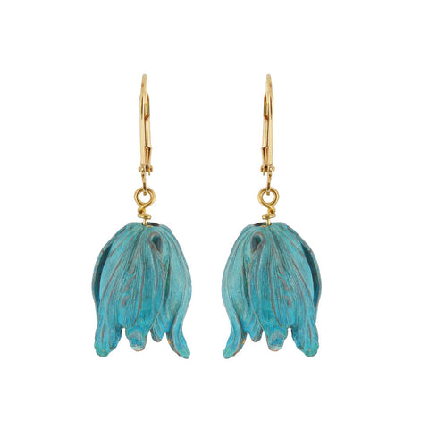 Brass Verdigris Tulip Head Dangle Earrings