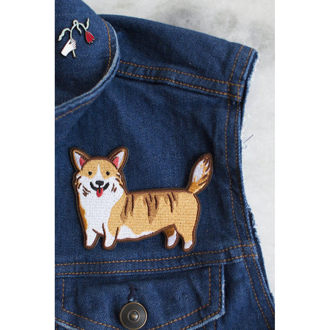 waddle corgi iron on patch by stay home club
