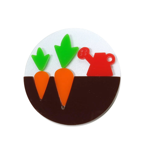 carrot and watering can gardening brooch i am acrylic