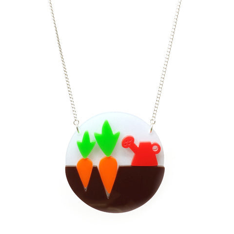 tiny carrot and watering can gardening necklace i am acrylic