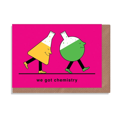 science beakers we got chemistry greetings card illustrated by robbie porter