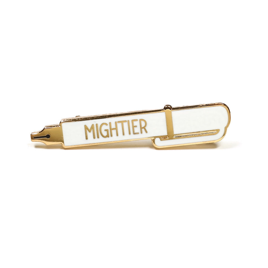 white fountain pen mightier than sword enamel pin brooch by rock cakes