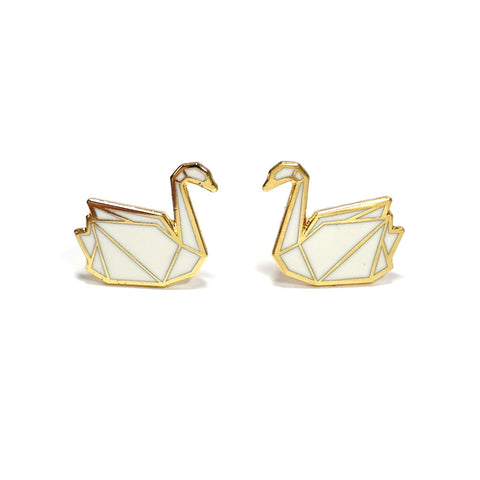 white swan enamel earrings by hug a porcupine