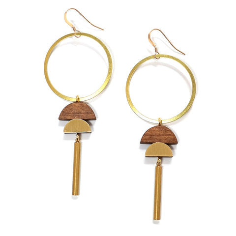 wolf and moon - brass wooden hoop dawn statement earrings