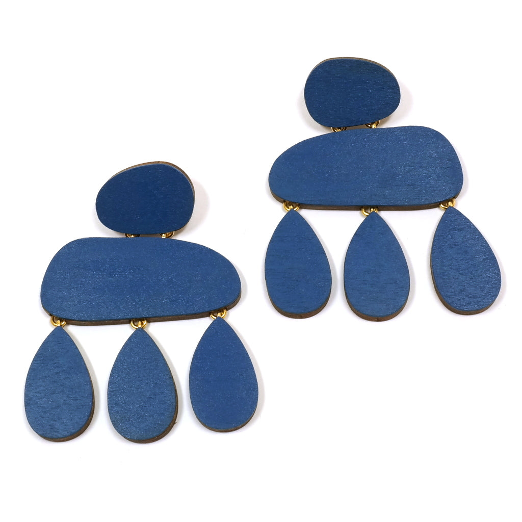 cobalt sterling with earrings sea products glass and waves ocean silver blue