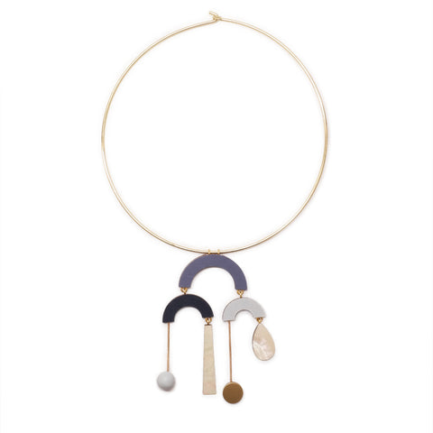 Wolf and Moon statement fountain geometric hoop collar necklace in blue