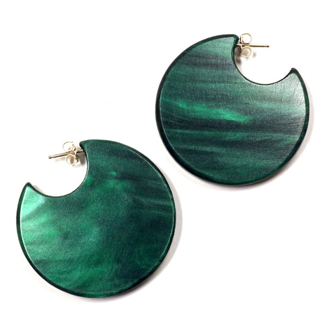 Woll dark green filled hoop circle formation earrings