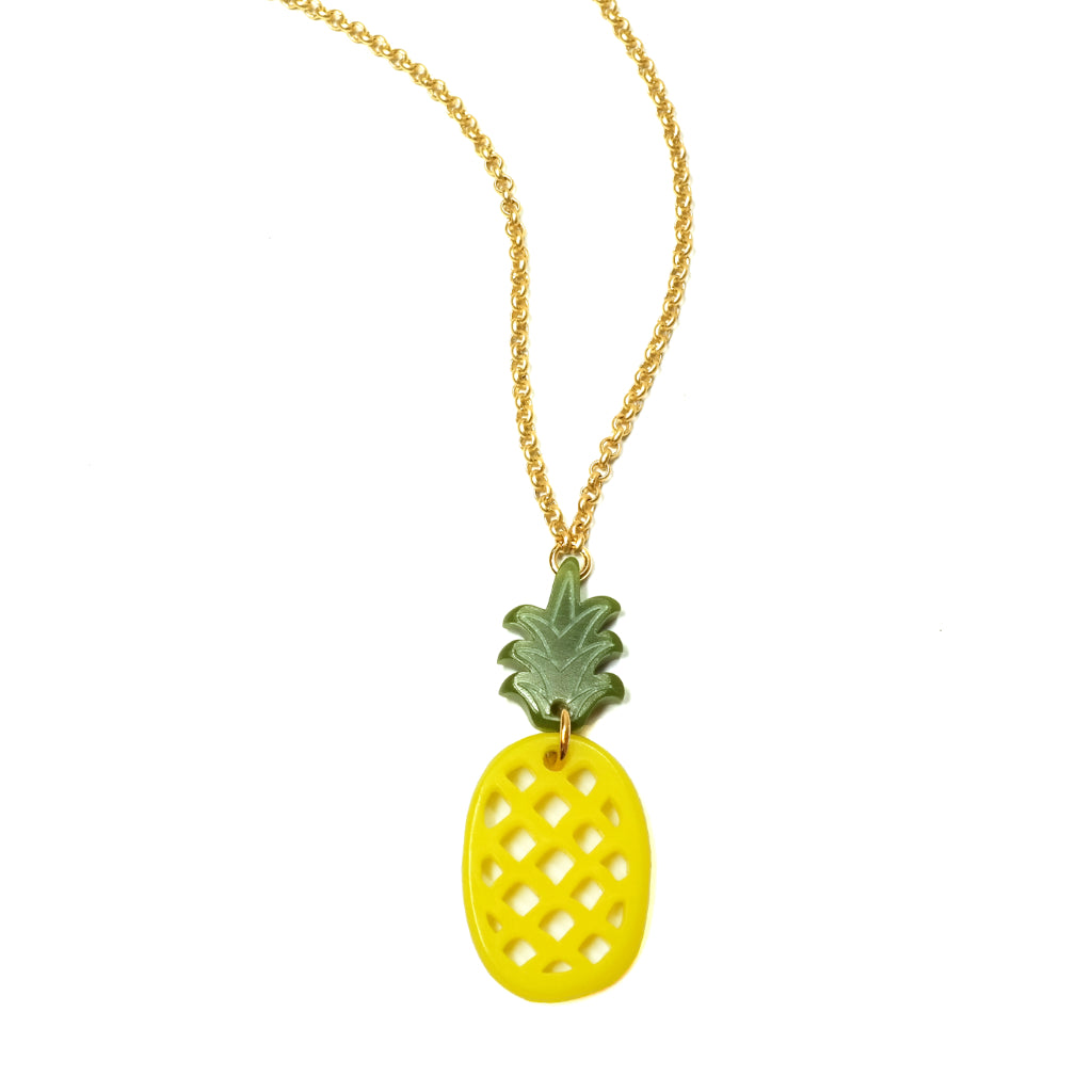 Woll Jewellery Acrylic Pineapple Necklace Yellow on Gold Chain