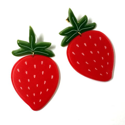 Large Acrylic Strawberry Earrings