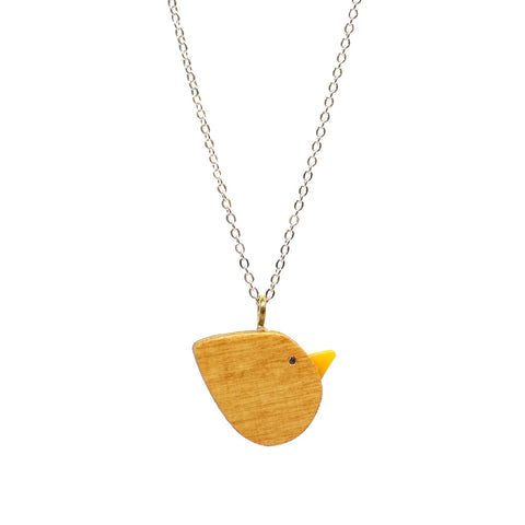 Cute simple wooden bird necklace with yellow beak on a silver chain