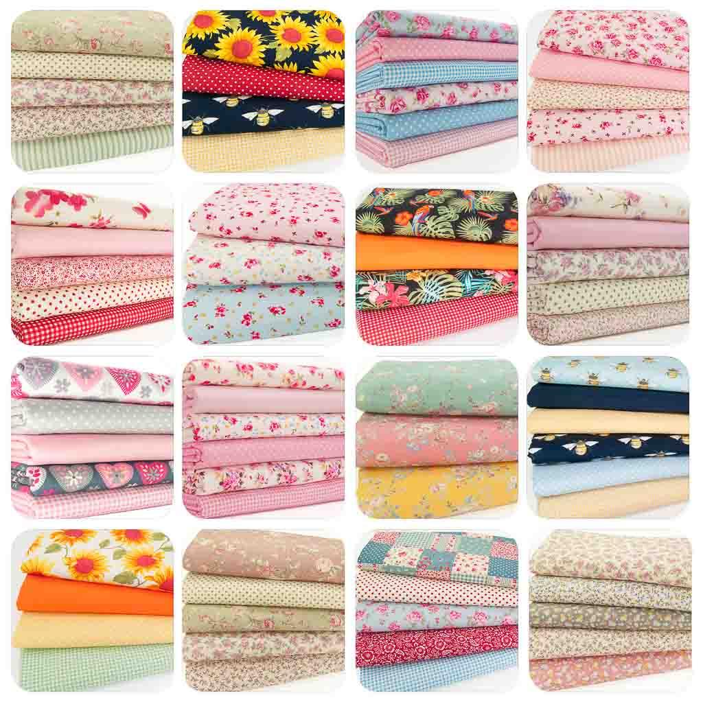 Sixteen fat quarter bundles, each with four or five fabrics in pink, blue, green and red