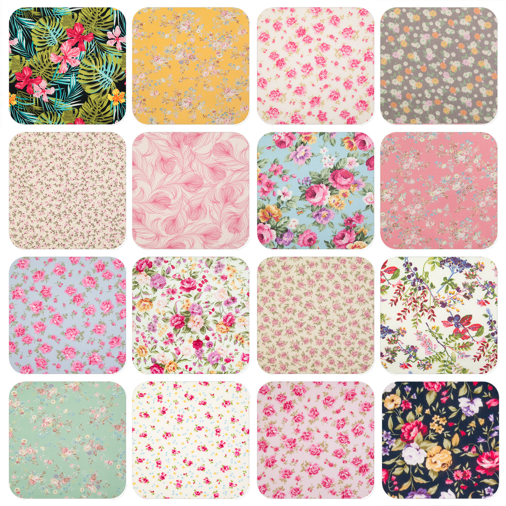 Sixteen floral cotton prints in a grid featuring tropical flowers, delicate flowers on yellow and many other floral prints