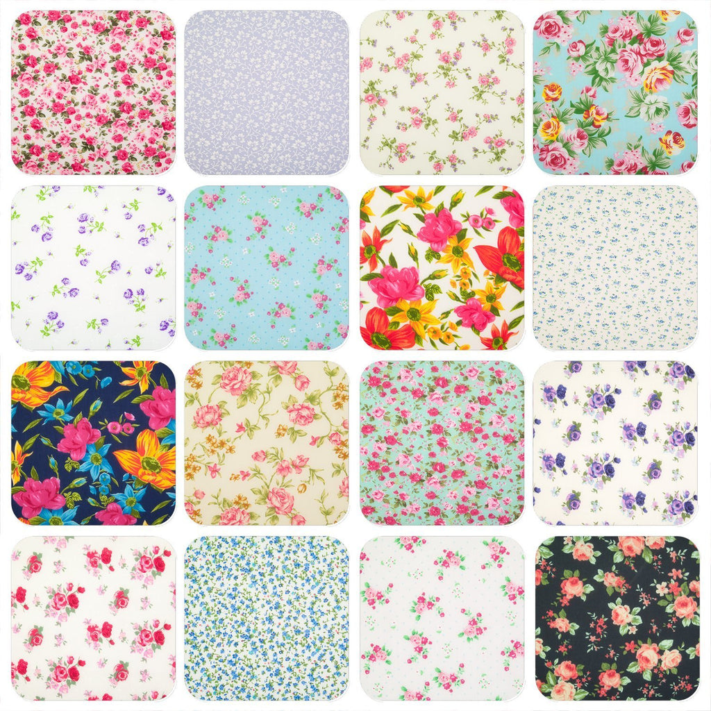 A grid of sixteen floral polycotton prints in various colours featuring roses and ditsy prints