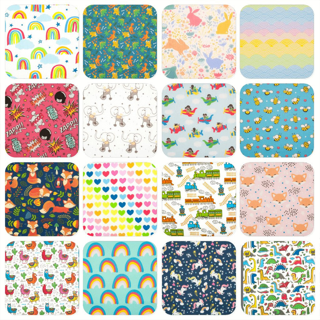 Sixteen children's prints featuring various designs such as rainbows, dinosaurs and unicorns in various colours