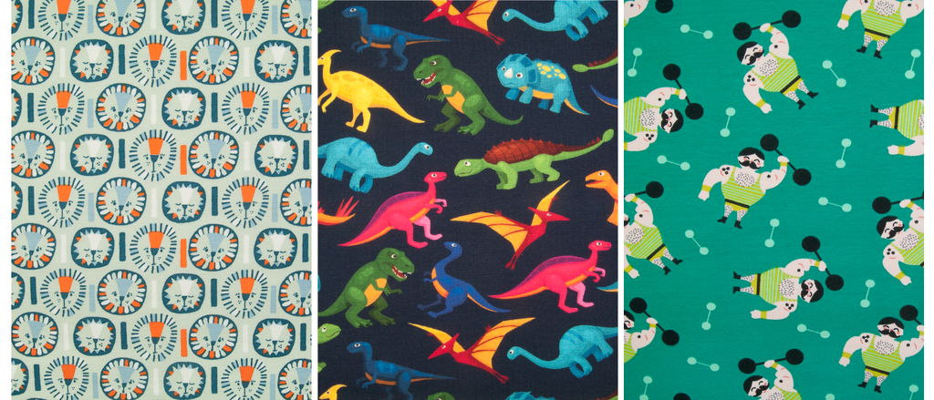 Three children's themed prints on cotton jersey material including dinosaurs, lions and strong men in various colours