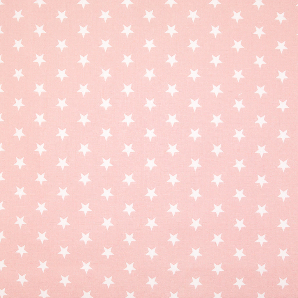 10mm White Star on Baby Pink - 100% Cotton