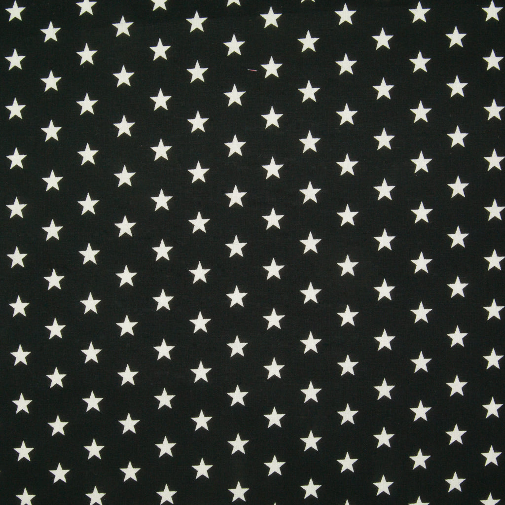 10mm White Star on Black - 100% Cotton