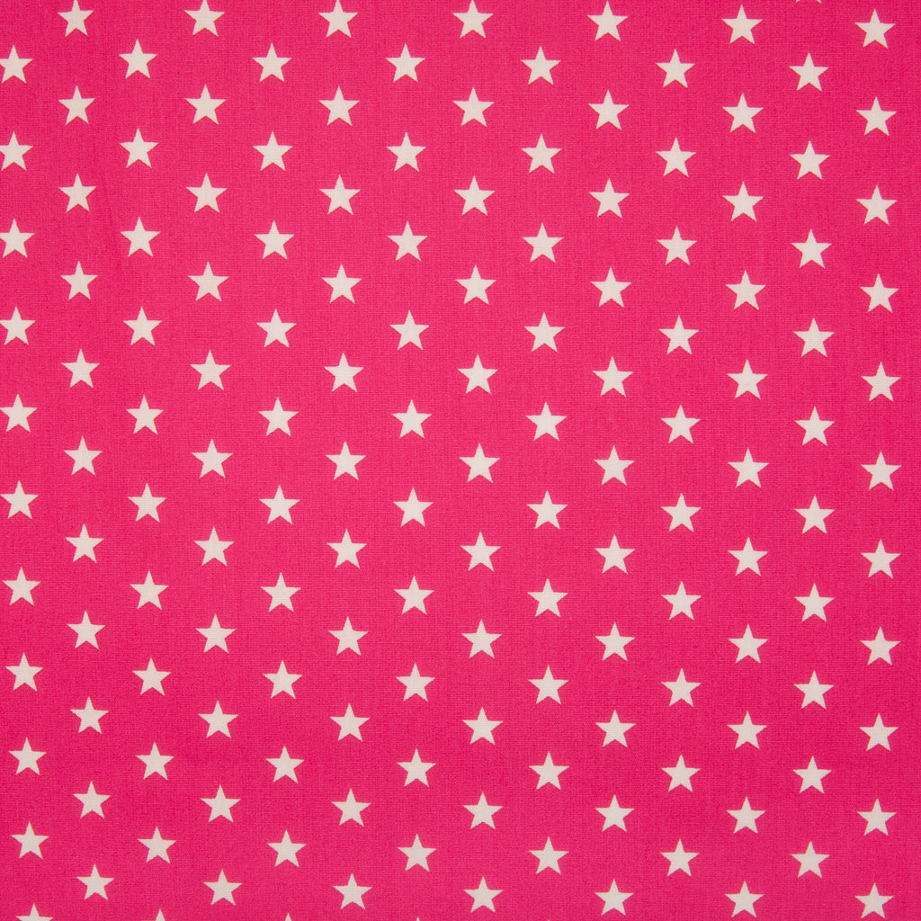 10mm White Star on Cerise - 100% Cotton