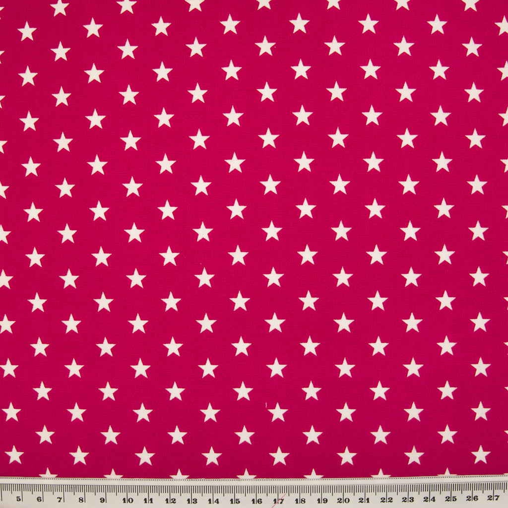 10mm White Star on Cherry - 100% Cotton