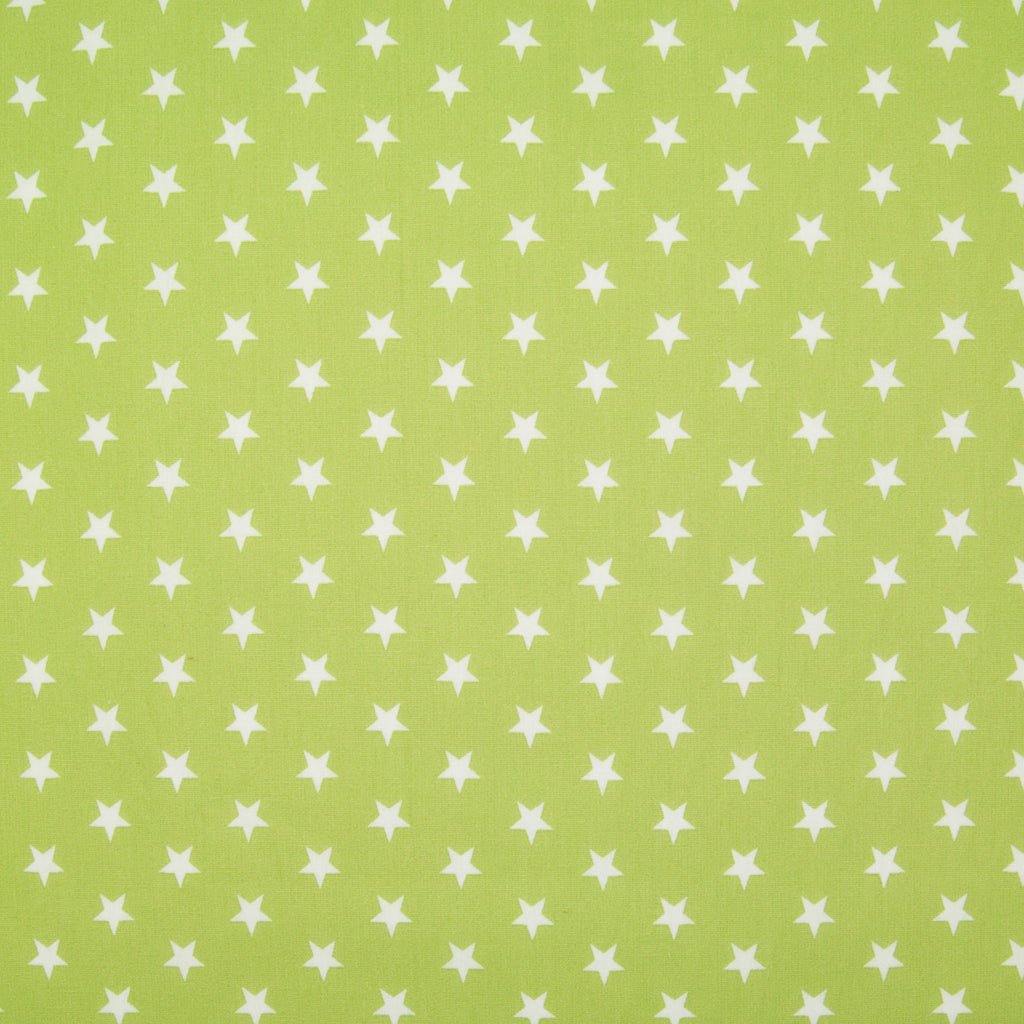 10mm White Star on Bright Lime Green - 100% Cotton