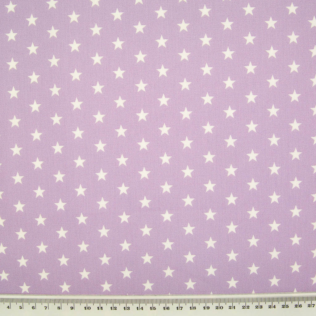 10mm White Star on Lilac - 100% Cotton