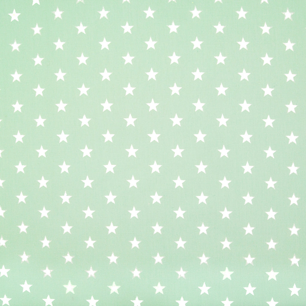 10mm White Star on Mint - 100% Cotton