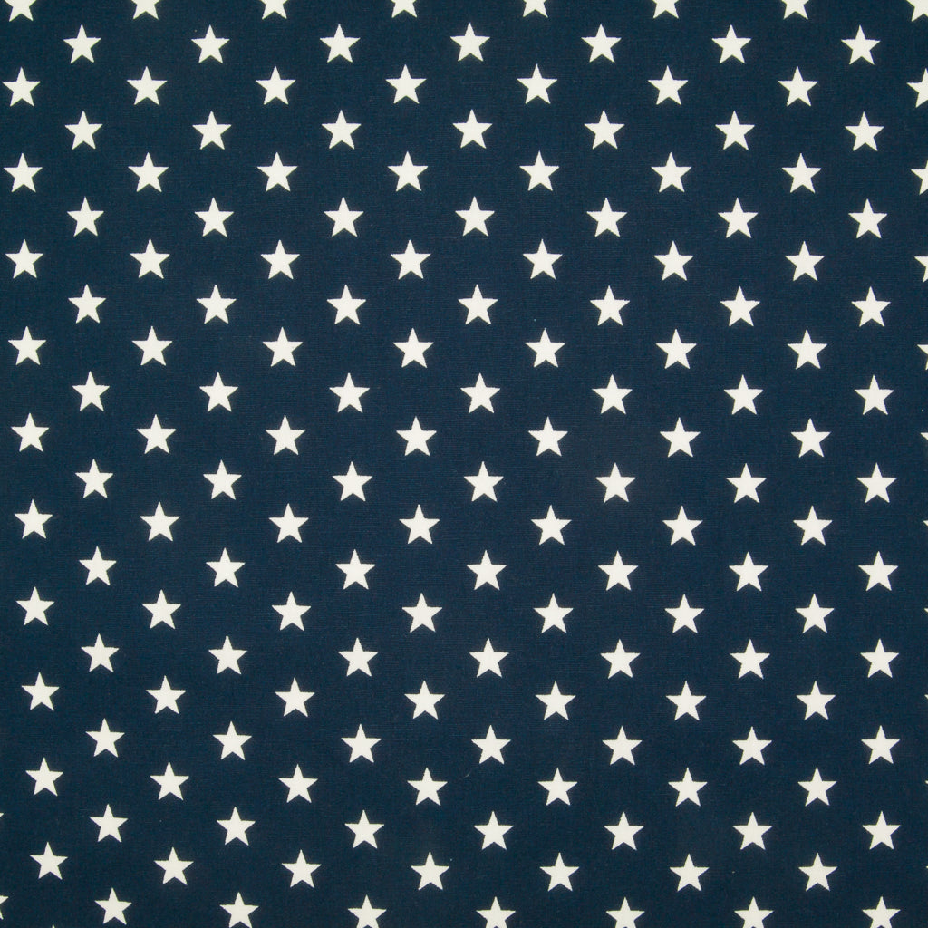 10mm White Star on Navy Blue - 100% Cotton